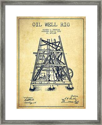 Oil Well Rig Patent From 1893 - Vintage Framed Print by Aged Pixel