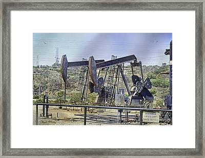 Oil Wells Pumping Framed Print