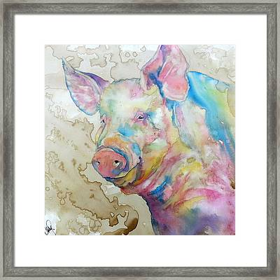 Framed Print featuring the painting Oink by Christy  Freeman