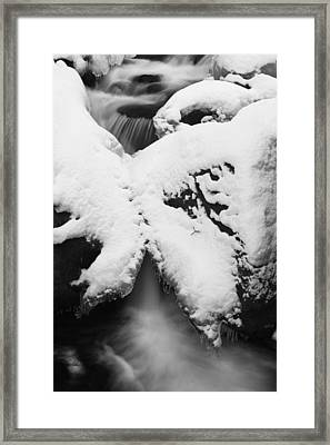 Framed Print featuring the photograph Oirase Gorge Stream In Winter by Brad Brizek