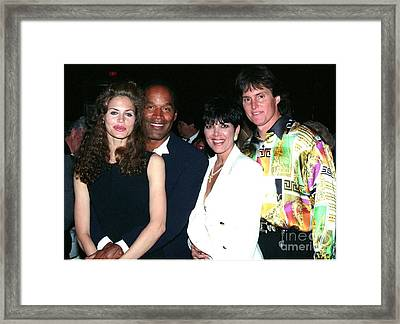 O.j. Simpson - Paula Barbieri - Kris And Bruce Jenner Party In Palm Springs Framed Print by Gary Kaplan