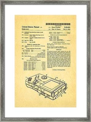 Okada Nintendo Gameboy Patent Art 1993 Framed Print by Ian Monk