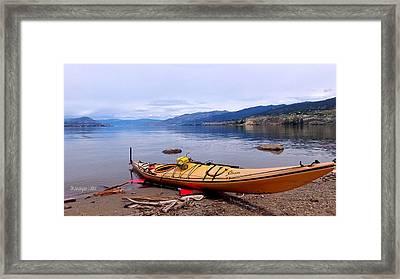 Okanagan Lake - Kayaking Framed Print by Guy Hoffman