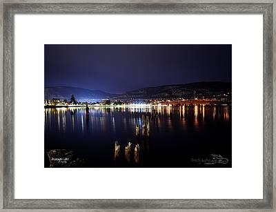 Okanagan Lake At Night Framed Print by Guy Hoffman