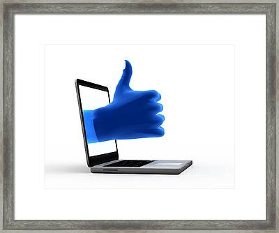 Okay Gesture Blue Hand From Screen Framed Print