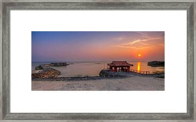 Okinawa Sunset In Yomitan Framed Print by Chris Rose