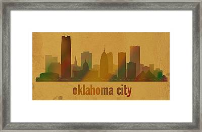 Oklahoma City Skyline Watercolor On Parchment Framed Print