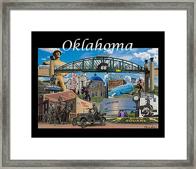 Oklahoma Collage With Words Framed Print