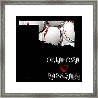 Oklahoma Loves Baseball Framed Print by Andee Design