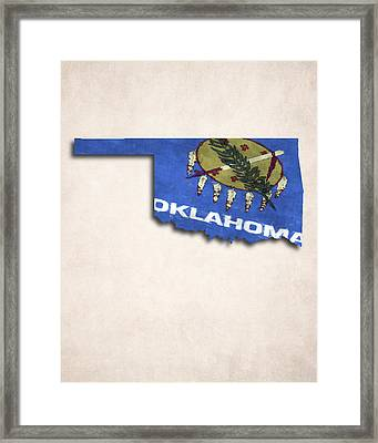 Oklahoma Map Art With Flag Design Framed Print by World Art Prints And Designs