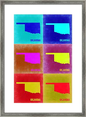 Oklahoma Pop Art Map 2 Framed Print by Naxart Studio