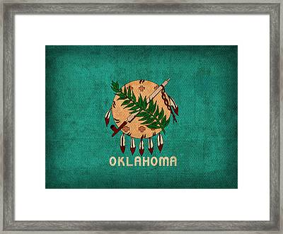 Oklahoma State Flag Art On Worn Canvas Framed Print by Design Turnpike