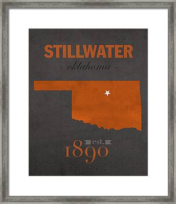 Oklahoma State University Cowboys Stillwater College Town State Map Poster Series No 084 Framed Print by Design Turnpike