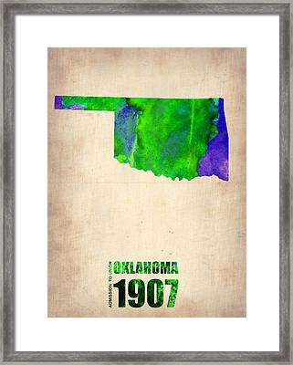 Oklahoma Watercolor Map Framed Print by Naxart Studio