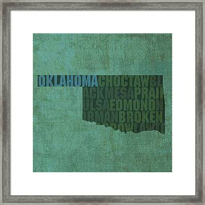 Oklahoma Word Art State Map On Canvas Framed Print by Design Turnpike