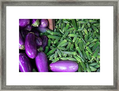 Okra And Eggplant For Sale At A Farmers Framed Print