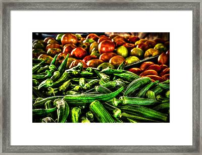 Okra And Tomatoes Framed Print