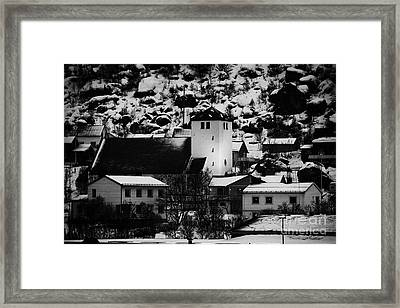 Oksfjord Church And Village During Winter Norway Europe Framed Print