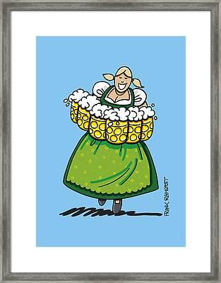Oktoberfest Beer Waitress Dirndl Framed Print by Frank Ramspott