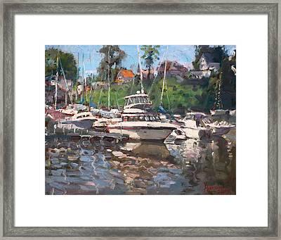 Olcott Yacht Club Framed Print by Ylli Haruni