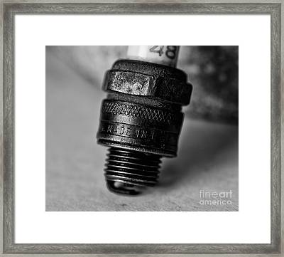 Old 48 Made In U S A Spark Plug Framed Print by Wilma  Birdwell