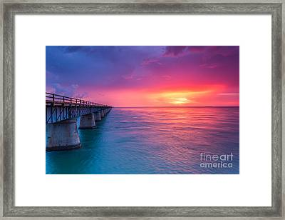 Old 7 Mile Bridge Sunset Framed Print