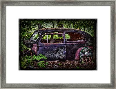 Old Abandoned Car In The Woods Framed Print