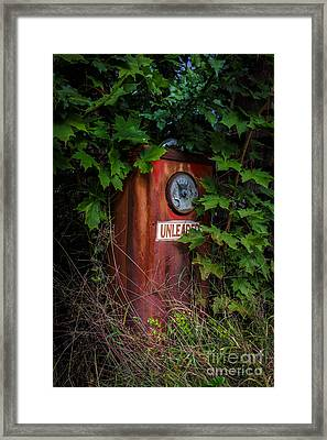 Old Abandoned Gasoline Pump Framed Print by Edward Fielding