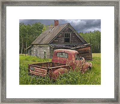 Old Abandoned Homestead And Truck Framed Print by Randall Nyhof
