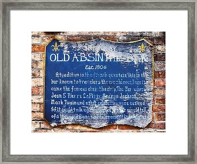 Old Absinthe Bar - Bourbon Street Framed Print by Bill Cannon