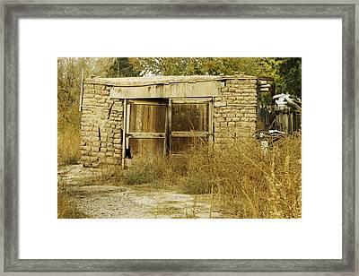 Old Adobe Brick Garage Framed Print by David Allen Pierson