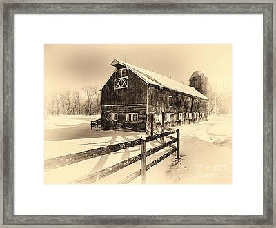 Old American Barn On Snow Covered Land Framed Print by George Oze