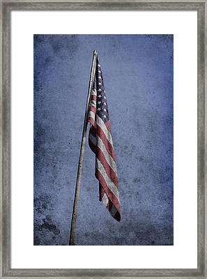 Old American Flag  Framed Print by Tommytechno Sweden