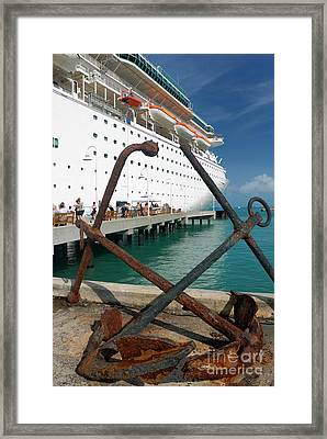 Old Anchors Near Cruise Ship Framed Print by Amy Cicconi