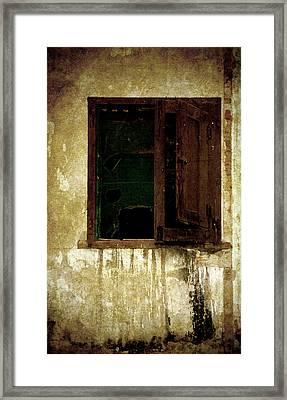 Old And Decrepit Window Framed Print