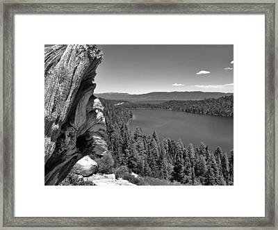 Old And New Of Cascade Lake B And W Framed Print