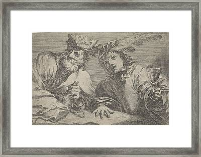 Old And Young Man At A Table, Johann Liss Framed Print by Johann Liss