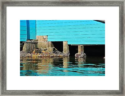 Old Aqua Boat Shed With Aqua Reflections Framed Print by Kaye Menner