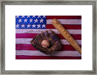 Old Ball And Glove With Bat Framed Print by Garry Gay