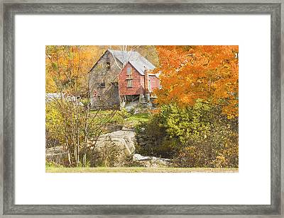 Old Barn And Dam In Autunm Vienna Maine Framed Print by Keith Webber Jr