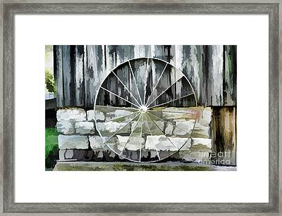 Old Barn And Ford Wheel Framed Print