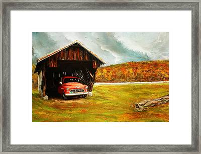 Old Barn And Red Truck Framed Print