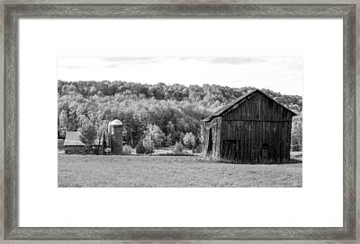 Old Barn And Silo Framed Print by Optical Playground By MP Ray