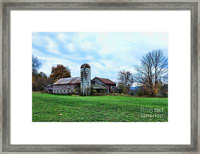 Old Barn And Silo Framed Print by Paul Ward