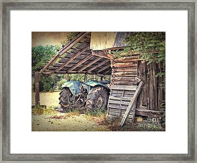 Old Barn And Tractor Framed Print