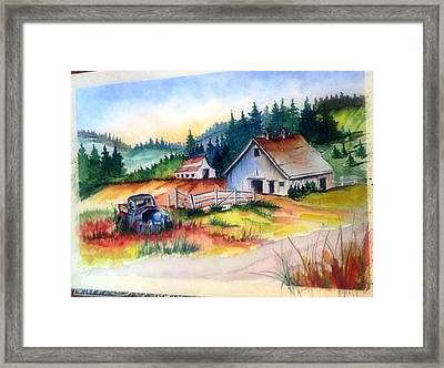 Old Barn And Truck Framed Print
