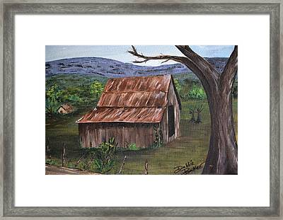 Framed Print featuring the painting Old Barn by Debbie Baker