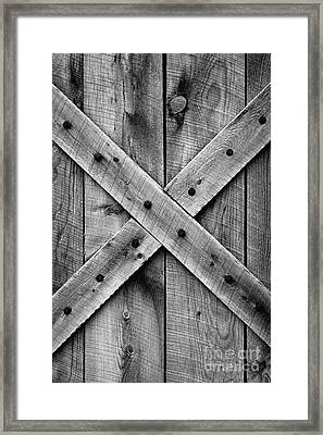 Old Barn Door In Black And White Framed Print