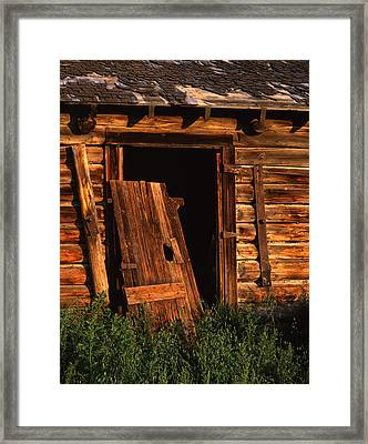 Old Barn Door Framed Print by Mike Norton