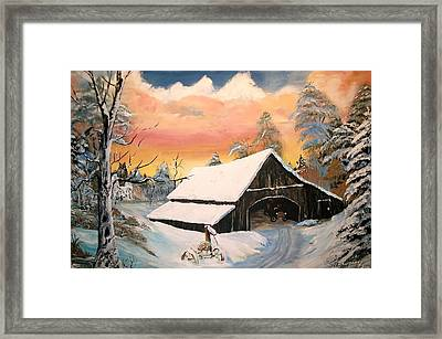 Framed Print featuring the painting Old Barn Guardian by Sharon Duguay